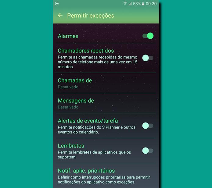 Você pode determinar exceções como alarmes, notificações específicas de ligações telefônicas e até aplicativos que podem driblar o não perturbe (Foto: Reprodução/Filipe Garrett)