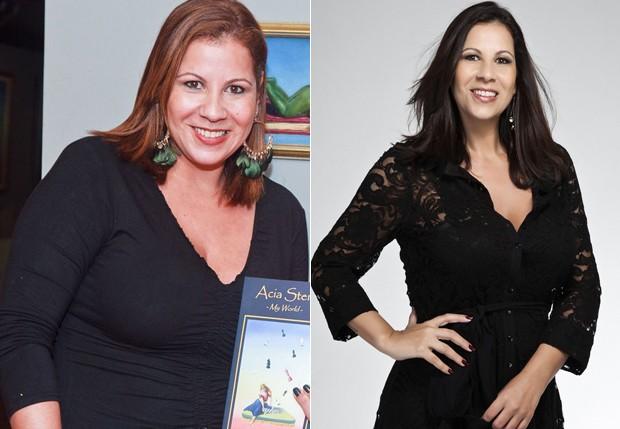 Carla Daniel antes e agora, 18 quilos mais magra: boa fase (Foto: Divulgação)