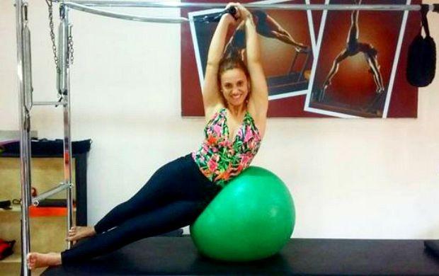 Karina faz pilates e musculação para manter a forma (Foto: Karina Quadros/Arquivo pessoal)