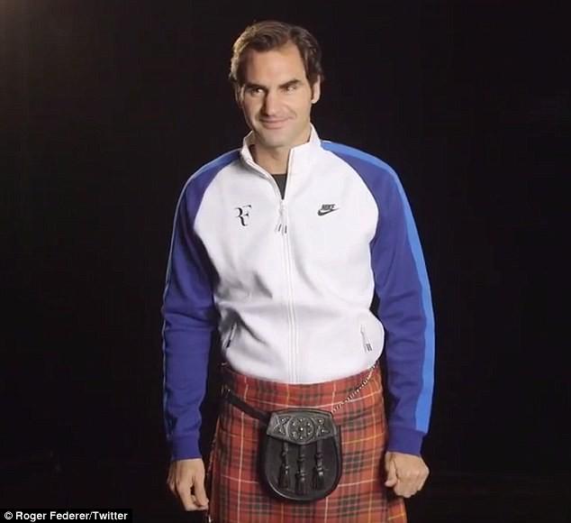 Federer uswou saia kilt e homenageou a cultura escocesa para divulgar amistoso beneficente com Andy Murray (Foto: Reprodução/Twitter)