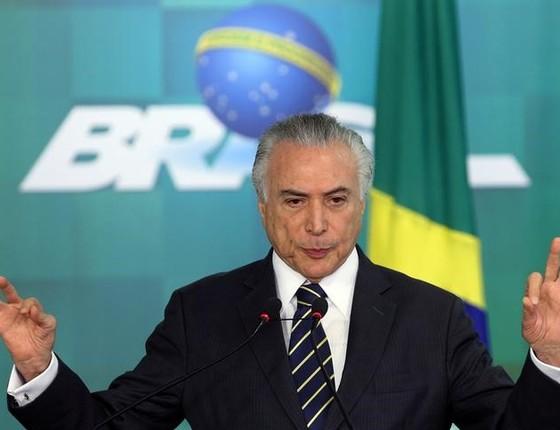 Presidente interino Michel Temer durante cerimônia de anúncio do reajuste do Bolsa Família no Palácio do Planalto (Foto: Adriano Machado/Reuters)