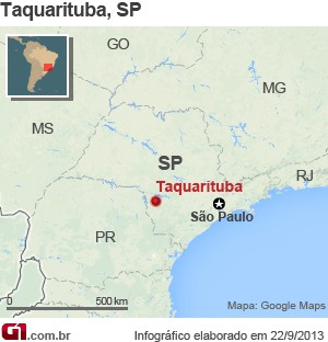 Mapa Taquarituba - vale este (Foto: Arte/ G1)