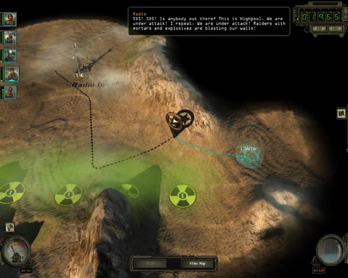 Durante a dinâmica de exploração de Wasteland 2 os jogadores devem evitar áreas envenenadas pela radiação, enquanto controlam a quantidade de água nos cantis (Foto: Reprodução/Daniel Ribeiro)