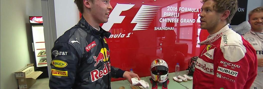 Sebastian Vettel e Kvyat discutem após o GP da China de Fórmula 1