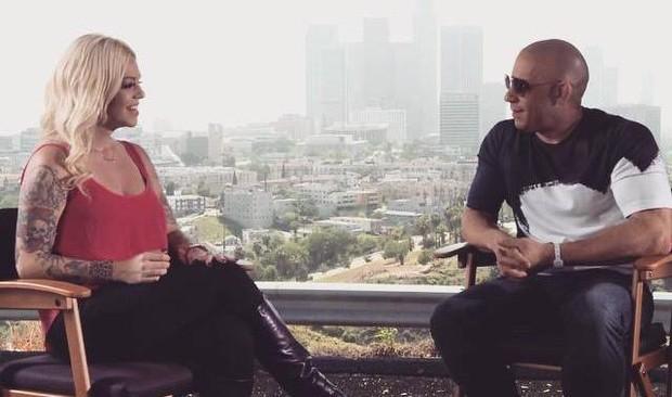 Mayra Dias Gomes entrevista Vin Diesel (Foto: Reprodução/Divulgação)