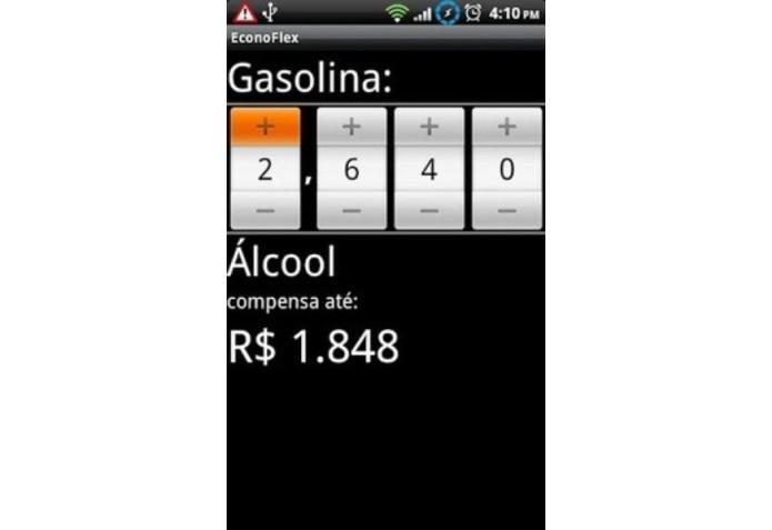 O aplicativo Econoflex compara o preço do etanol em relação à gasolina e informa se compensa abastecer com o combustível (Foto: Divulgação)