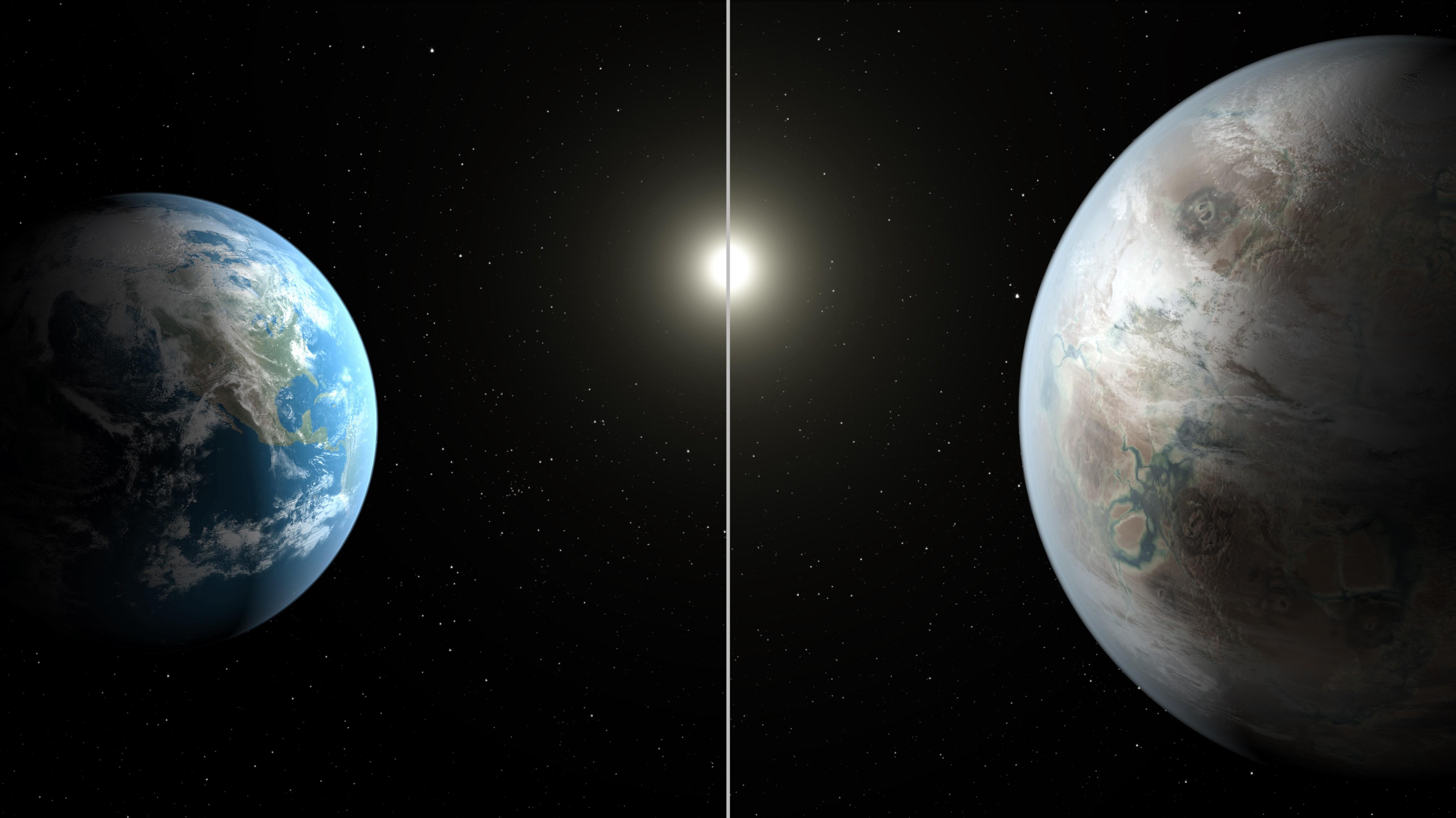 Concepção artística compara Terra com o Kepler 452b (Foto: NASA/JPL-Caltech/T. Pyle)