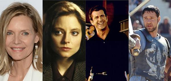 Michelle Pfeiffer e Jodie Foster, Mel Gibson e Russell Crowe (Foto: Getty Images e Divulgação)