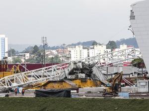 Local do acidente no estádio do Corinthians em São Paulo (Foto: Miguel Schincariol/AFP)
