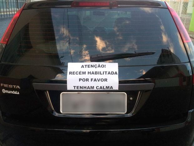 Motorista novata pede calma (Foto: Divulgação/Arquivo pessoal)