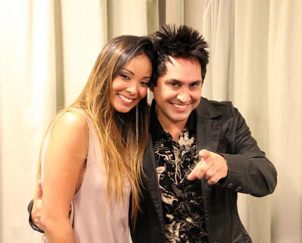 Carol Nakamura e Mariozan Rocha (Foto: TV Globo/Domingão do Faustão)