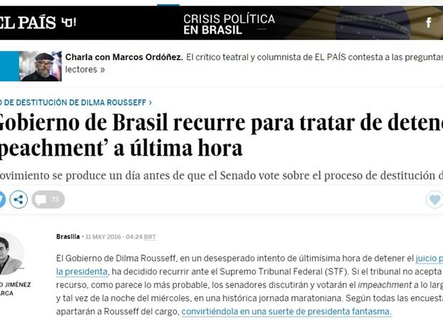 Jornal El País classificou o recurso como 'desesperado'  (Foto: Reprodução/G1)