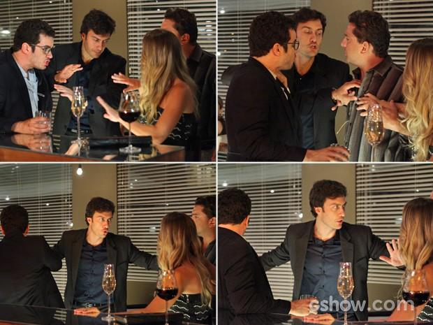 Laerte salva Felipe de barraco em restaurante (Foto: Carol Caminha/ TV Globo)