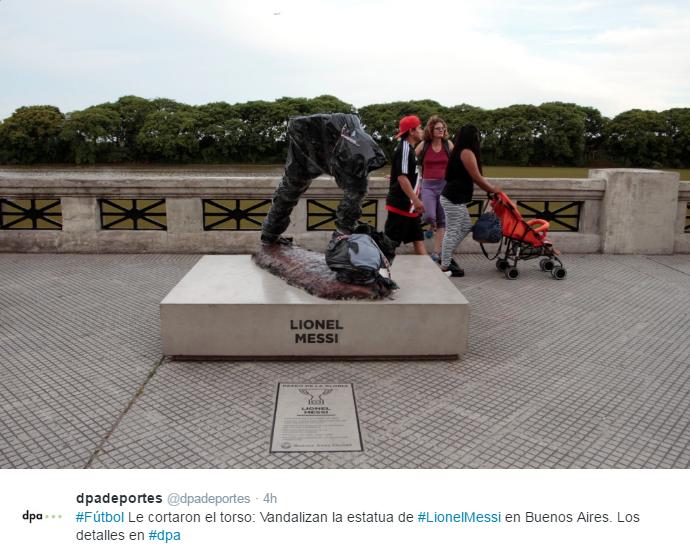 BLOG: Estátua de Lionel Messi é destruída por vândalos em Buenos Aires