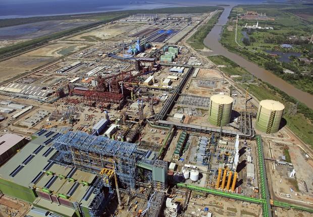 Vista aérea de obras da Companhia Siderúrgica do Atlântico (CSA) (Foto: Divulgação)