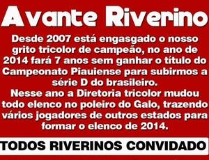 Protesto torcida River-PI (Foto: Divulgação)