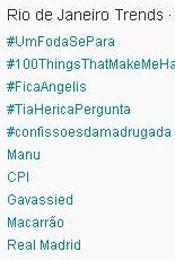 Trending Topics no Rio às 17h05 (Foto: Reprodução)