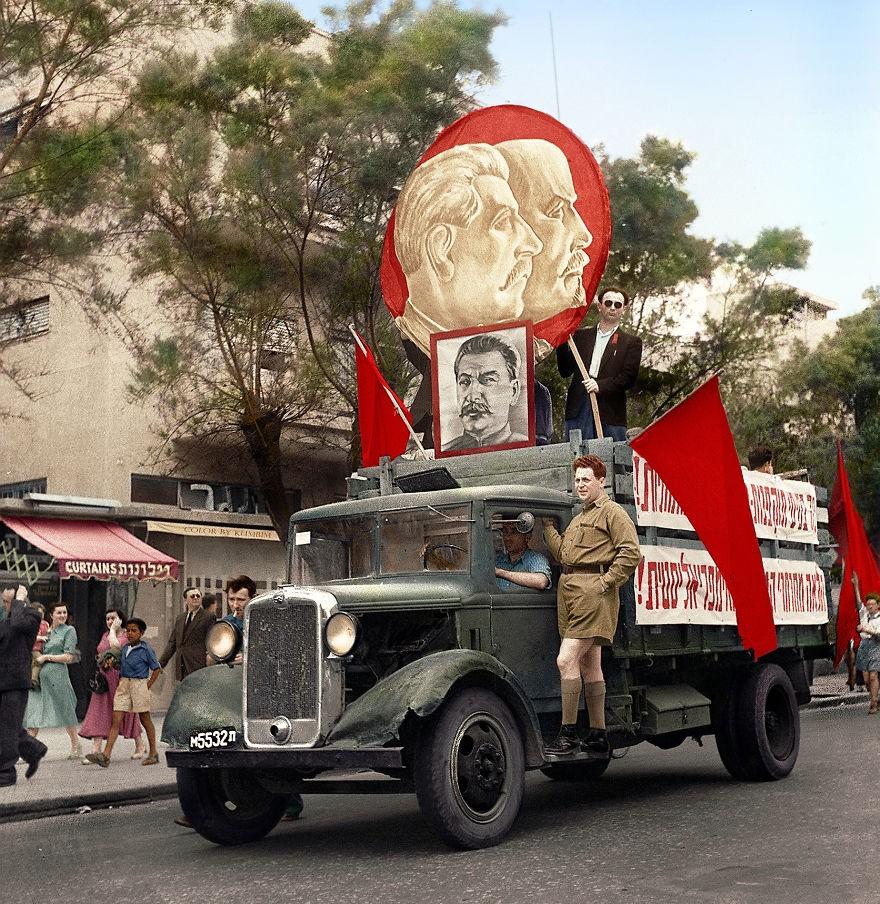 Parada comunista realizada na cidades israelense de Tel Aviv, em 1947 (Foto: Reprodução)