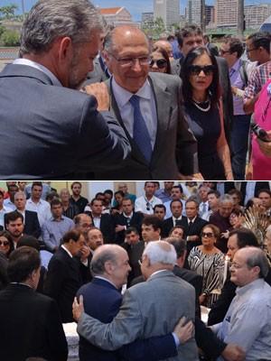 Geraldo Alckmin e José Serra no velório de Sérgio Guerra, no Recife (Foto: Katherine Coutinho / G1)