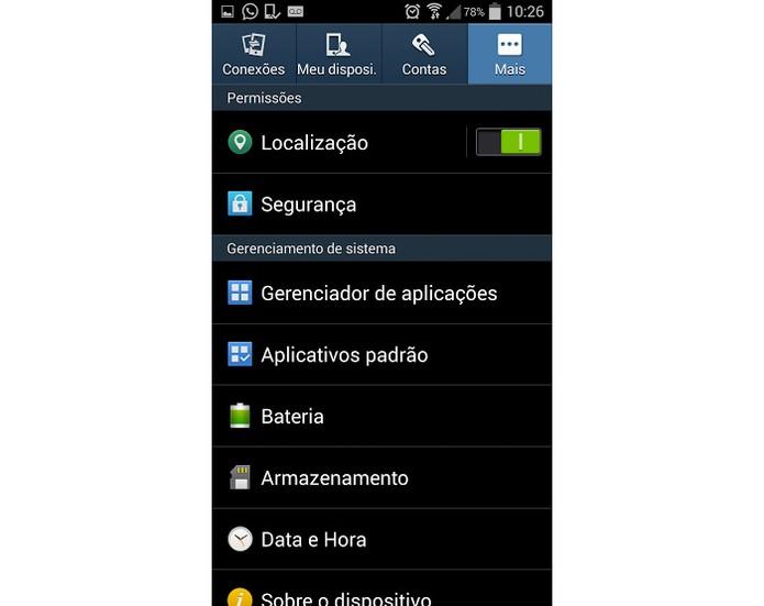 """Opção """"Segurança"""" no menu do Galaxy S4 (Foto: Reprodução)"""