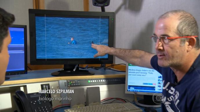 Biólogo marinho Marcelo Szpilman analisa imagens de ameaça de tubarão a Mick Fanning (Foto: Reprodução / TV Globo)