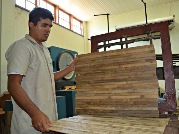 Daniel Nascimento desenvolve o compensado de bambu para aplicação em forros e divisórias (Foto: Caio Fulgêncio/G1)