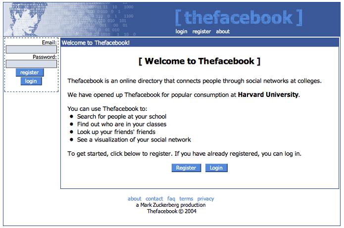 Antiga página do TheFacebook.com que deu origem ao Facebook (Foto: Reprodução/Wikipédia)
