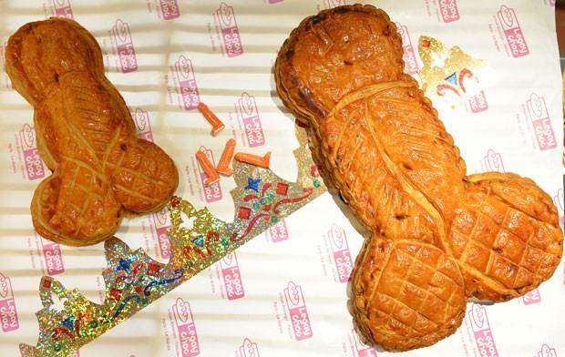 Padaria francesa produziu o tradicional bolo dos Reis em formato de pênis  (Foto: Miguel Medina/AFP)