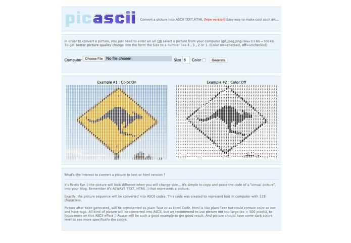 Pic ASCII com opções de exportação colorida (Foto: Reprodução/André Sugai)
