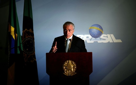 Michel Temer,ao dizer que não  vi renunciar (Foto: Ueslei Marcelino / Reuters)