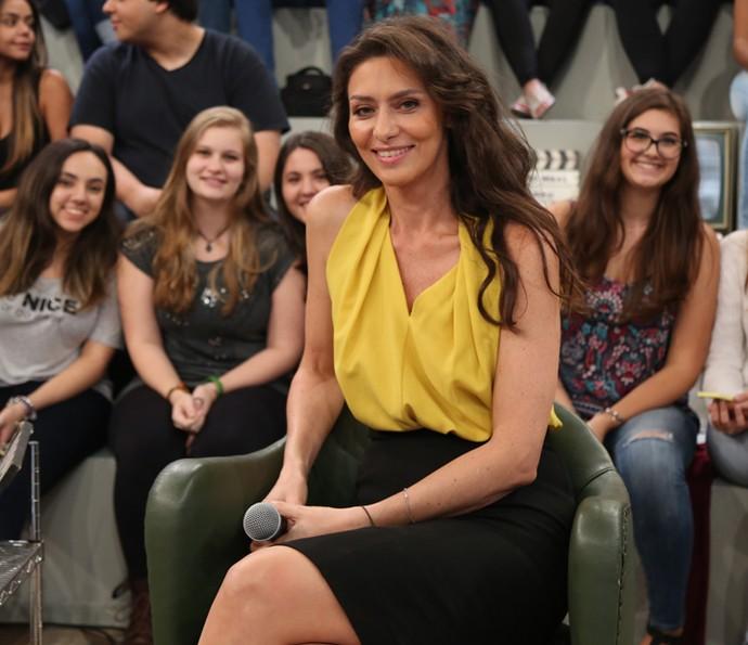 Maria Fernanda Cândido participa da gravação do Altas Horas (Foto: Carol Caminha/Gshow)