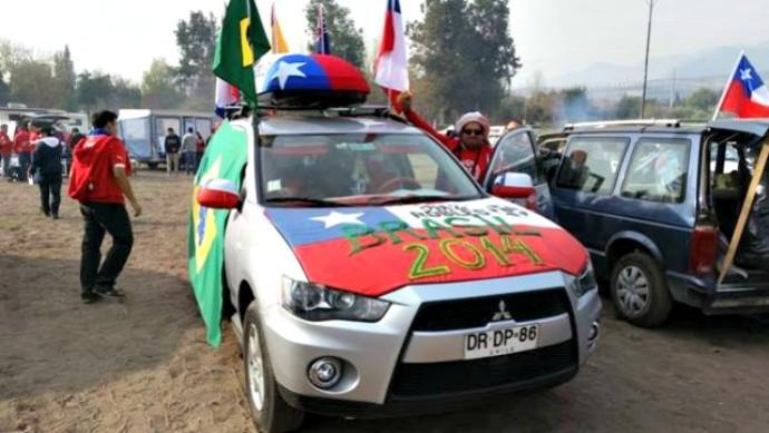 Torcedores chilenos em caravana com destino ao Brasil (Foto: Divulgação/Caravana Santiago-Brasil)