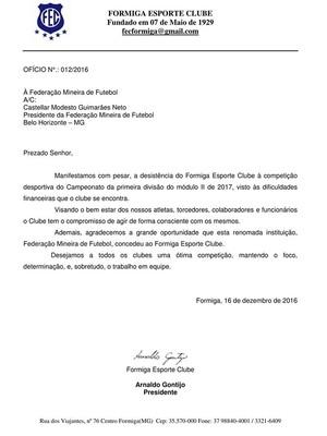 Nota oficial, Formiga, desistência Módulo II (Foto: Reprodução/Facebook)