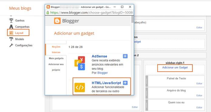 Encontre o local do site que deseja adiciona o widget (Foto: Reprodução/Barbara Mannara)