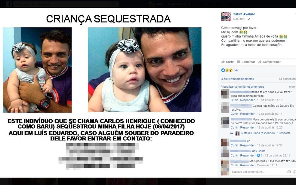Jovem de 19 anos diz que filha foi sequestrada pelo ex-marido (Foto: Reprodução/Facebook)