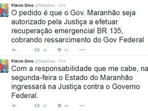Governador Flávio Dino disse que entrará na Justiça contra o Dnit (Foto: Reprodução/Twitter)