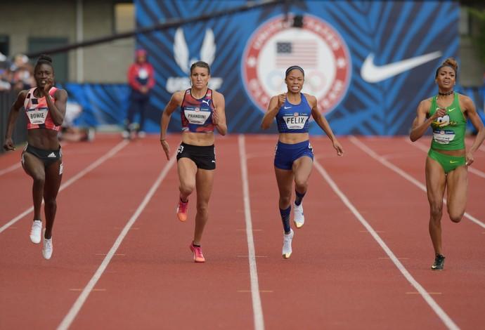 Jenna Prandini superou Allyson Felix e venceu os 200m em Eugene (Foto: Reuters)