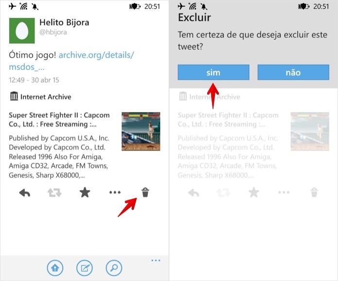 Apagando tweet pelo celular (Foto: Reprodução/Helito Bijora)