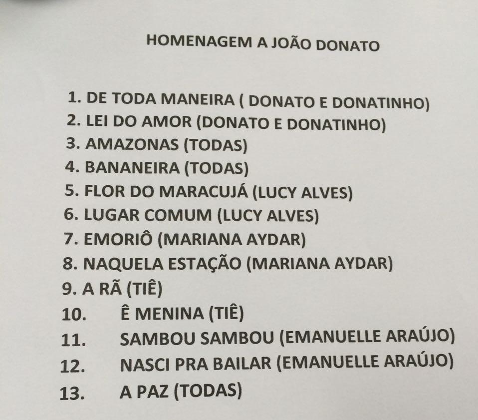 Setlist do show em homenagem ao grande mestre Joo Donato (Foto: Reproduo)