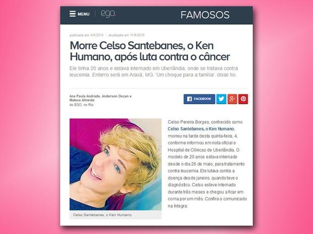 Morre o Ken Humano (Foto: Reprodução/ Internet)
