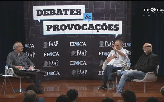 O diretor de redação de ÉPOCA, João Gabriel de Lima, o cientista social Marco Aurélio Nogueira e o filósofo Luis Felipe Pondé participam do Debates e Provocações ÉPOCA/FAAP (Foto: Reprodução)