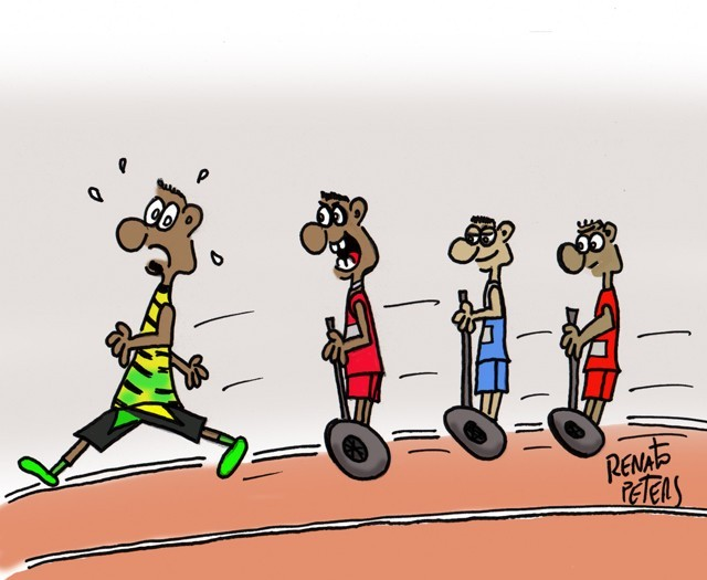 Charge de Renato Peters sobre queda de Usain Bolt (Foto: Renato Peters)