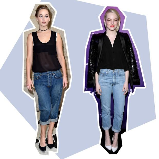 Jeans: Jennifer Lawrence + Emma Stone (Foto: Reprodução e Getty)