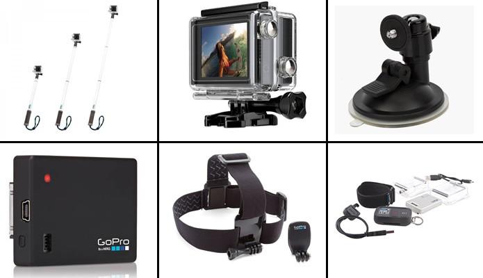 As câmeras da GoPro possuem vários acessórios para aprimorar a captura de seus vídeos e fotos (Arte: Daniel Ribeiro)