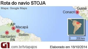 Navio africano está atracado em Macapá com destino a Santarém (Foto: Andressa Azevedo/G1)