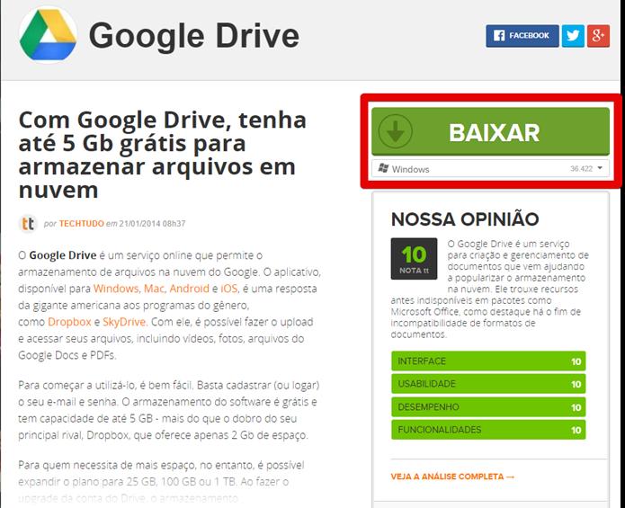 Baixe o Google Drive para desktop no TechTudo (Foto: Felipe Alencar/TechTudo)