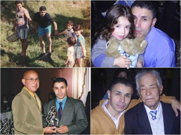 Na ordem: João Carlos Rodrigues com três filhos e um primo; com Bruna, a filha caçula; ganhando o prêmio Homem Gladiador, em 2005; e junto com o pai Hercílio. (Foto: João Carlos Rodrigues/Arquivo pessoal)
