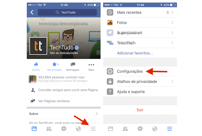 Acessando as configurações do Facebook para iPhone (Foto: Marvin Costa/TechTudo)