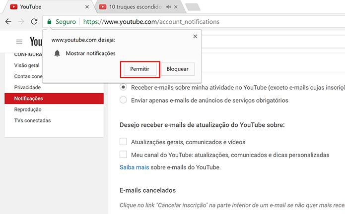 Toque em Permitir para receber notificações do YouTube na área de trabalho (Foto: Reprodução/Elson de Souza)