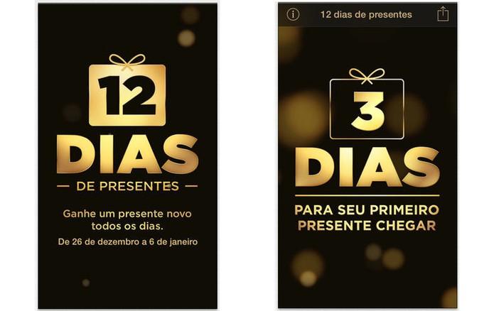 """App """"12 dias de presentes"""", da Apple, informará quais presentes estarão disponíveis a cada dia (Foto: Divulgação)"""